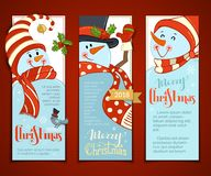 Vector set of vertical Christmas banners with cute snowmen. Cartoon smiling snowmen with hats and scarves. Holly berries and bird. Christmas backgrounds. There Stock Photos