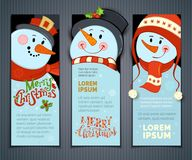 Vector set of vertical Christmas banners with cute snowmen. Cartoon smiling snowmen with hats and scarves. Holly berries, snowflakes and stars. Christmas Stock Photo