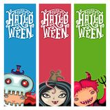 Vector set of Halloween banners with children Royalty Free Stock Photos