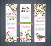 Vector set of vertical spring banners. Royalty Free Stock Photos