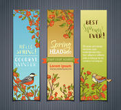 Vector set of vertical spring banners. Royalty Free Stock Image