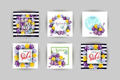 Vector set of vertical spring banners. Spring sale. Concept spring background .Vector template. Vector set of vertical spring banners. Spring sale. Concept royalty free illustration