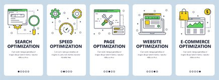 Vector modern thin line search optimization concept web banner set. Vector set of vertical website banners. Search optimization and speed, page, website and e stock illustration