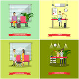 Vector set of veterinary care concept posters, banners, flat style. Stock Images