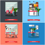 Vector set of veterinary care concept posters, banners, flat style. Royalty Free Stock Image
