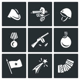Vector Set of Victory Day in Russia Icons. Garrison cap, Machine gun, Helmet, Order, Submachine, Flask, Flag, Firework Royalty Free Stock Photography
