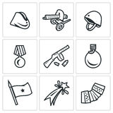 Vector Set of Victory Day in Russia Icons. Garrison cap, Machine gun, Helmet, Order, Submachine, Flask, Flag, Firework Stock Images