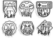 Vector set of video game play joystick in vintage style. Gaming concept. Stock Photography