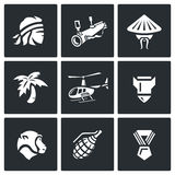 Vector Set of The Vietnam War Icons.. Man, head, weapon, resident palm transport shell animal medal Stock Photo