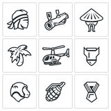 Vector Set of The Vietnam War Icons. Soldier, grenade launcher, vietnamese, Jungle, Helicopter, Bomb, Monkey, Grenade Royalty Free Stock Images