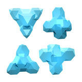 Vector set of views of transparent complex geometric shape based on tetrahedron Stock Photography