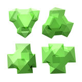 Vector set of views of transparent complex geometric shape based on tetrahedron Royalty Free Stock Photography