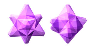 Vector set of views of transparent complex geometric shape based on two tetrahedrons Royalty Free Stock Photos