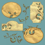 Vector set of vignette background with hand drawing leaves Stock Images