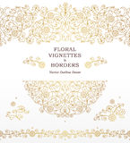 Vector set of vignettes, borders in Eastern style. Vector set of line art vignettes, frames, seamless borders for design template. Element in Eastern style Stock Photography