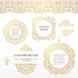 Vector set of vignettes, borders in Eastern style. Vector set of line art vignettes, frames, seamless borders for design template. Element in Eastern style Royalty Free Stock Images
