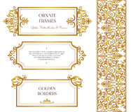 Vector set of vignettes, borders in Victorian style. Vector set of golden frames and border for design template. Elements in Victorian style. Luxury floral Stock Photos