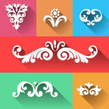 Vector set of vignettes. Vector set of scrolls, vignettes and arrows in Victorian style. Element in flat design style. It can be used for decorating of Stock Image