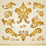 Vector set of vignettes. Vector set of scrolls and vignettes in Victorian style. Element for design. It can be used for decorating of wedding invitations Royalty Free Stock Photo