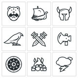 Vector Set of Viking Icons.. Barbarian, Drakkar, Helmet, Raven Crossed Swords Ax Shield Fire Lightning Royalty Free Stock Images