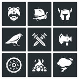 Vector Set of Viking Icons. Warrior, Ship, Ammunition, God, Battle, Weapon, Protection, Burial, Weather. Barbarian, Drakkar, Helmet, Raven Crossed Swords Ax Stock Photography
