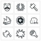 Vector Set of Viking life Icons. Barbarian, Laurel Wreath, Hammer, Ship, Shield, Gold, Ax, Blood, Meat. Stock Images