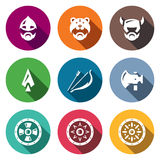 Vector Set of Viking Weapons Icons. Head, Man, Helmet, Ax, Spear, Bow and Arrow, , Shield. Royalty Free Stock Photo