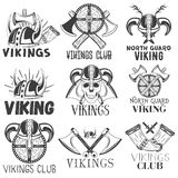 Vector set of vikings labels in vintage style. Design elements, icons, logo, emblems, badges. Viking warrior helmet and Royalty Free Stock Images