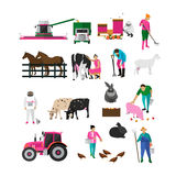 Vector set of village characters isolated on white background. Set of village characters isolated on white background. People working on farm, field, apiary Stock Image