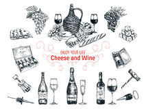 Vector set of vine and cheese elements. Royalty Free Stock Photo