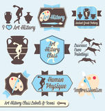 Vector Set: Vintage Art History Class Labels. Collection of retro style art history class labels and icons for back to school in college and in high school Stock Image