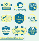 Vector Set: Vintage Astronomy Class Labels. Collection of astronomy class labels and icons for college of high school Stock Photo
