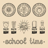Vector set of vintage Back to School labels. Retro signs, icons collection with educational equipment. Vector set of vintage Back to School labels. Retro signs Royalty Free Stock Photos