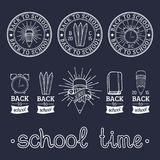 Vector set of vintage Back to School labels. Retro signs, icons collection with educational equipment. Royalty Free Stock Photo