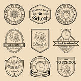 Vector set of vintage Back to School labels. Retro signs, icons collection with educational equipment. Royalty Free Stock Image