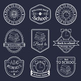 Vector set of vintage Back to School labels. Retro signs, icons collection with educational equipment. Royalty Free Stock Photos