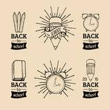 Vector set of vintage Back to School labels. Retro signs, icons collection with educational equipment. Stock Photo