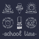 Vector set of vintage Back to School labels. Retro signs, icons collection with educational equipment. Vector set of vintage Back to School labels. Retro signs Royalty Free Stock Photography
