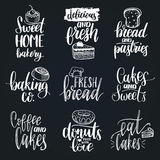 Vector set of vintage bakery hand lettering.Calligraphy collection with cookie Illustrations for print and web projects. Royalty Free Stock Image