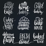 Vector set of vintage bakery hand lettering.Calligraphy collection with cookie Illustrations for print and web projects. Royalty Free Stock Photo