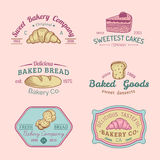 Vector set of vintage bakery logos. Retro emblems collection with sweet biscuit, cupcake etc. Hipster pastry icons. Stock Image