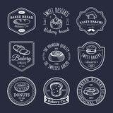Vector set of vintage bakery logos. Retro emblems collection with sweet biscuit, cupcake etc. Hipster pastry icons. Stock Photos