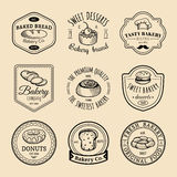 Vector set of vintage bakery logos. Retro emblems collection with sweet biscuit, cupcake etc. Hipster pastry icons. Stock Photo