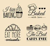 Vector set of vintage bakery logos. Retro labels collection with sweet cookie, biscuit bread etc. Hipster pastry icons. Stock Images