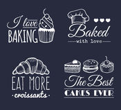 Vector set of vintage bakery logos. Retro labels collection with sweet cookie, biscuit bread etc. Hipster pastry icons. Royalty Free Stock Photos