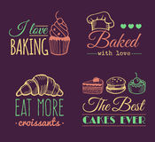 Vector set of vintage bakery logos. Retro labels collection with sweet cookie, biscuit bread etc. Hipster pastry icons. Royalty Free Stock Image