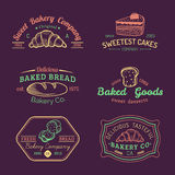Vector set of vintage bakery logos. Retro labels collection with sweet cookie, bread, cake etc. Hipster pastry icons. Vector set of vintage bakery logos. Retro Stock Photo