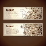 Vector set: vintage banners with lace ornaments,. Flowers and text area. Abstract vector backgrounds can be for header design for web sites, blank design Stock Images