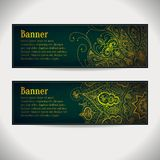 Vector set: vintage banners with lace ornaments,. Flowers and text area. Abstract vector backgrounds can be for header design for web sites, blank design Royalty Free Stock Photos