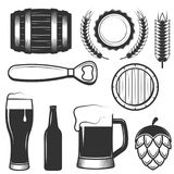 Vector vintage beer icons, symbols set. Vector set of vintage beer symbols, icons isolated on white background. Black templates for logos and print Royalty Free Stock Image